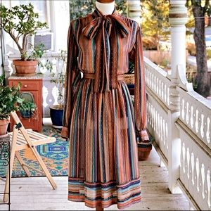 Vintage 70s Lilli Ann Striped Pussy Bow Skirt Set